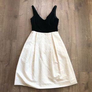 Milly of New York Black Velvet Ivory V Neck Dress
